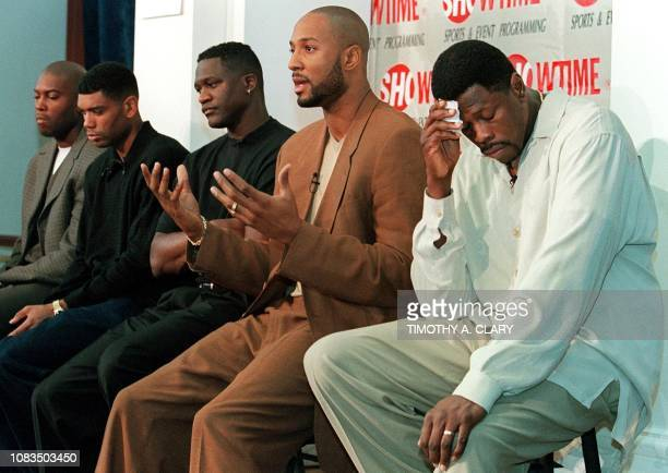 NBA stars Glen Rice of the Charlotte Hornets Allan Houston of the New York Knicks Dominique Wilkins who now plays in Greece Alonzo Mourning of the...