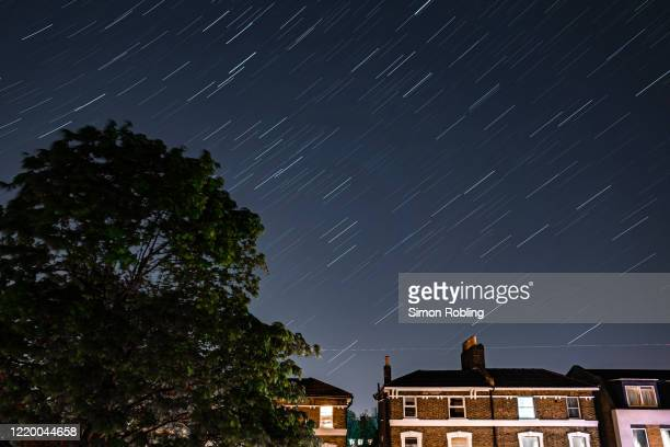 Stars illuminate the sky on a clear night in Forest Hill on April 20, 2020 in London, England. The clear skies created by the New Moon coincide with...