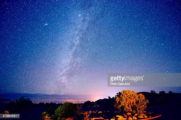 Stars in night sky, Moab, Utah, USA