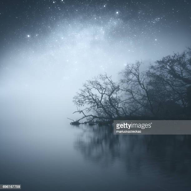 Stars in night sky over  Dromore river, Cavan, Ireland