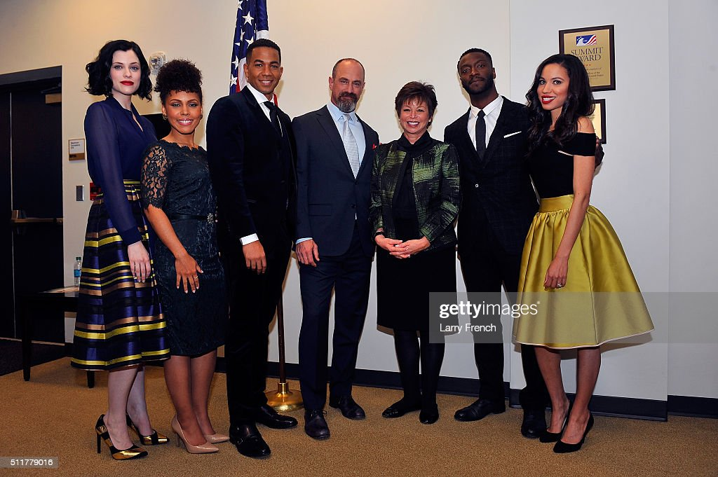 Stars Jessica de Gouw, Amirah Vann, Alano Miller, Chris Meloni, senior advisor to the president Valerie Jarrett, Aldis Hodge and Jurnee Smollett-Bell appear at a screening and panel discussion of WGN America's 'Underground' at The White House on February 22, 2016 in Washington, DC.