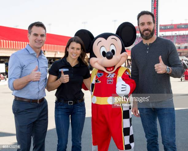 RACERS NASCAR stars Jimmie Johnson Danica Patrick and Jeff Gordon welcomed Mickey Mouse to the Auto Club Speedway in Fontana Calif on March 24 2017...