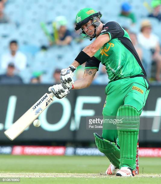 Stars Kevin Pietersen bats during the Big Bash League match between the Melbourne Stars and and the Hobart Hurricanes at Melbourne Cricket Ground on...