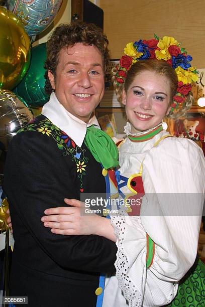 Stars Michael Ball and Emma Williams pose in costume at the musical premiere Chitty Chitty Bang Bang held at the London Palladium on April 16 2002...