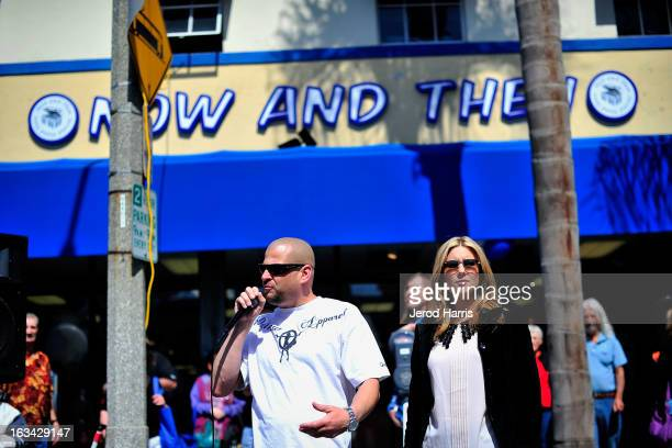 Stars of AE's Storage Wars Jarrod Schulz and Brandi Passante attend the Grand Opening of Now Then Second Hand Store on March 9 2013 in Long Beach...