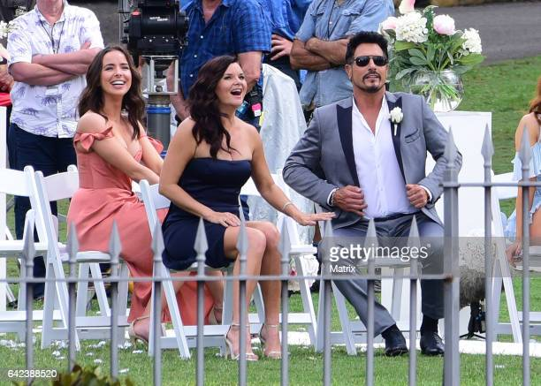 Stars of Bold and the Beautiful are seen filming a wedding scene on February 14 2017 in Sydney Australia