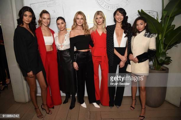 Stars of E's Model Squad Daniella Brag Hannah Ferguson Olivia Culpo Caroline Lowe Devon Windsor Ping Hue and Ashley Moore pose in the Etihad Airways...