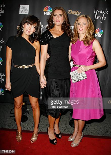 Stars of 'Lipstick Jungle' Lindsay Price Brooke Shields and Kim Raver attends premiere of NBC's new drama series 'Lipstick Jungle' hosted by NBC Saks...