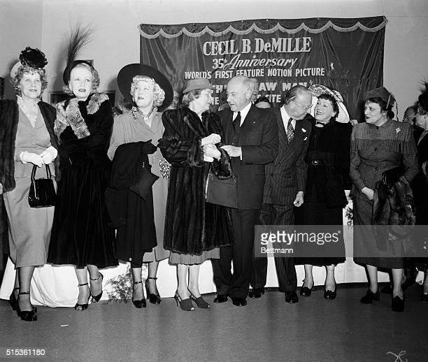 Stars of silent screen days are among the celebrities who turned out to honor movie producer Cecil B DeMille on his 35th anniversary in Hollywood...