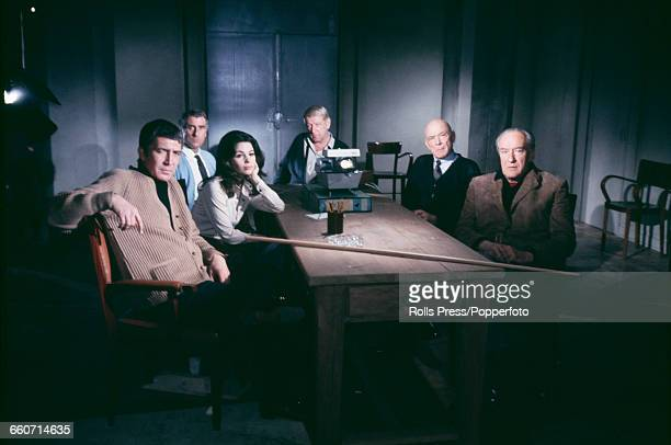 Stars of the feature film 'The Kremlin Letter' from left to right Patrick O'Neal Barbara Parkins Nigel Green Richard Boone Dean Jagger and George...
