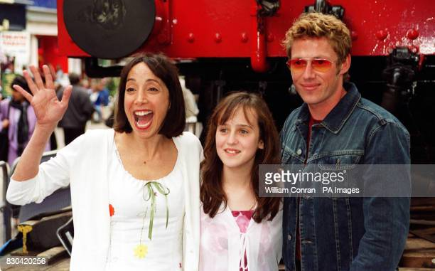 Stars of the film at the world charity premiere of Thomas and the Magic Railroad actresses Didi Conn and Mara Wilson and actor Michael E Rodgers in...