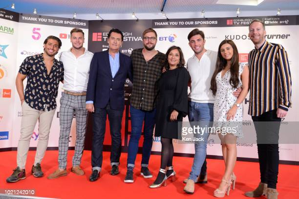 Stars of the hit TV show Love Island pose with ITV executives on the opening day of the Edinburgh International Television Festival on August 22 2018...