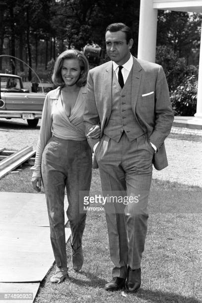 Stars of the latest James Bond film 'Goldfinger' Sean Connery and Honor Blackman pictured on the set during filming 11th June 1964