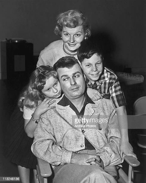 Stars of the television show 'Professional Father' actress Barbara Billingsley with actor Stephen Dunne and child actors Beverly Washburn and Ted...