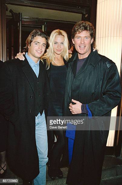 Stars of TV's 'Baywatch' at Langan's restaurant in London 25th January 1993 From left to right David Charvet Pamela Anderson and David Hasselhoff