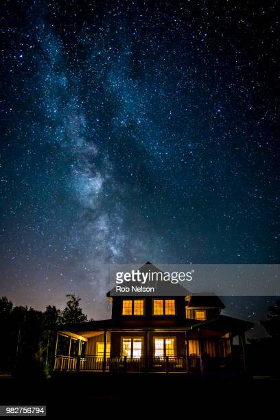 Stars on dark sky over country house, Ontario, Canada
