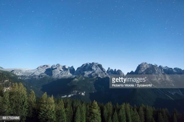 Stars on the rocky peaks Madonna di Campiglio Italy