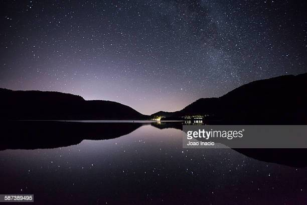 stars over calm lake - reflection lake stock photos and pictures