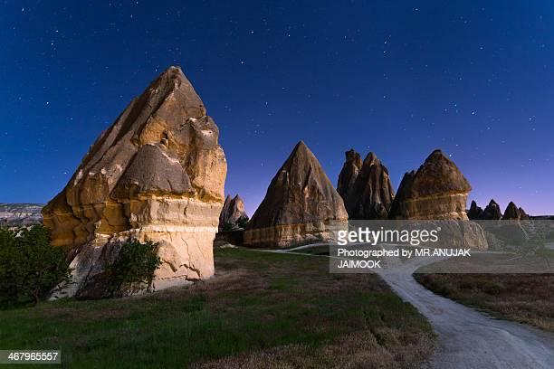 Stars over Chimney rock at Cappadocia, Turkey