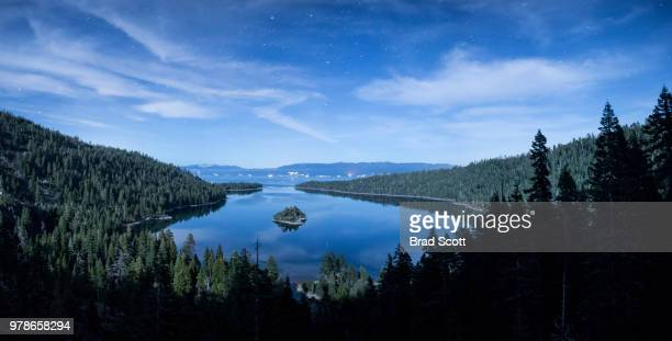 stars over lake tahoe, emerald bay state park, california, usa - lake tahoe stock photos and pictures