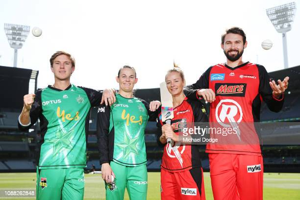 Stars players Adam Zampa and Erin Osborne and Renegades players Danni Wyatt and Kane Richardson pose with YMCA and School Of Rock kids during a...