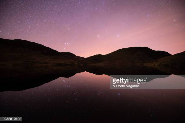 Stars reflected in a loch at night in the north west of Scotland, taken on March 24, 2017.