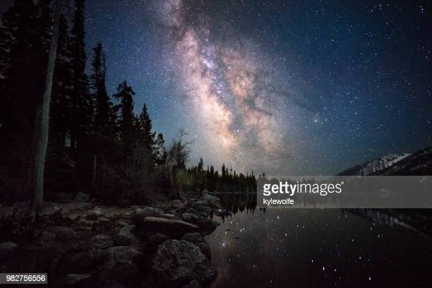 Stars reflecting in Jenny Lake, Wyoming, America, USA