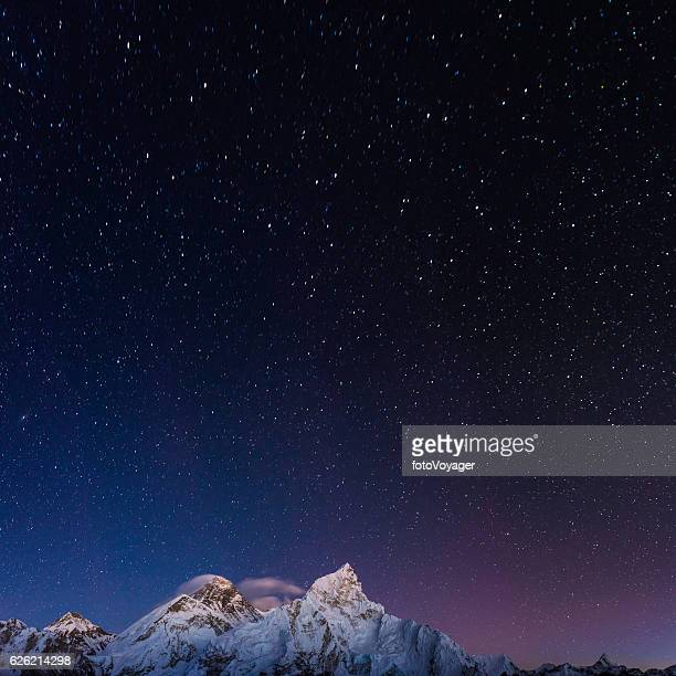 Stars shining above Mt Everest summit Himalaya mountain peaks Nepal