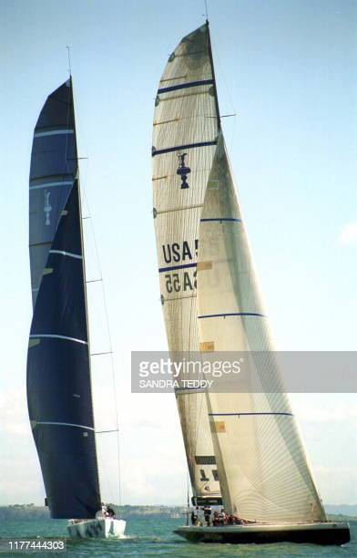 Stars & Stripes, skippered by Dennis Conner, heads to the first mark ahead of Abracadabra 2000 of Hawaii, during day two of the Louis Vuitton Cup on...