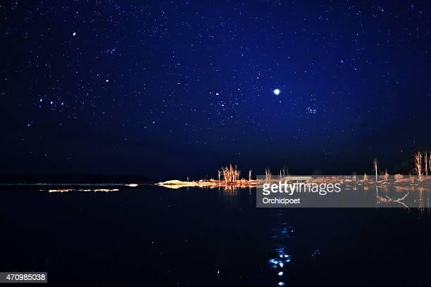 Stars Venus and Pleiades