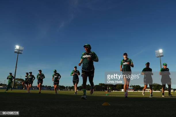 Stars warm up before the Women's Big Bash League match between the Brisbane Heat and the Melbourne Stars on January 13 2018 in Mackay Australia