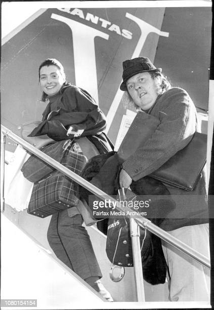 TV stars Will Rushton with his wife Arlene Dorgan leave on a Qantas jet to return to England July 1 1968