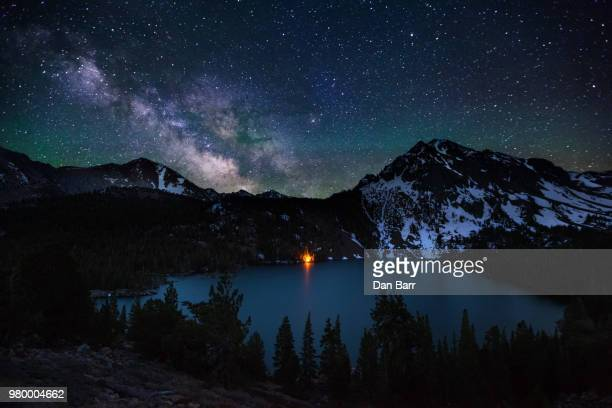 a starscape over a mountain lake in california, usa. - barr stock pictures, royalty-free photos & images