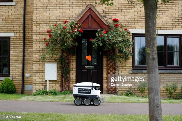 Starship delivery robot transports a fish and chips order on July 23, 2020 in Milton Keynes, England. Starship robots are advanced devices that...