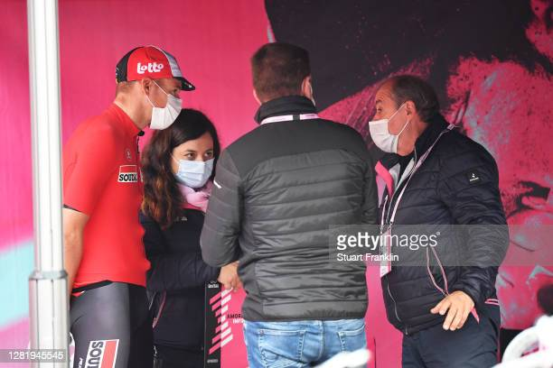 Start / Adam Hansen of Australia and Team Lotto Soudal and Mauro Vegni of Italy Giro d'Italia Director talk about what happened yesterday when the...