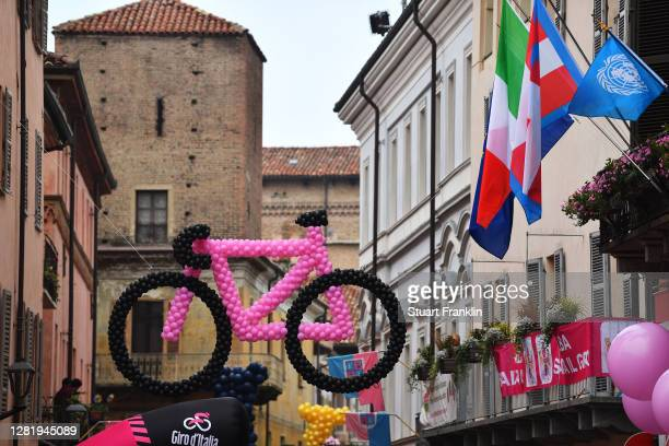 Start / Alba Village / Bike / Balloons/ Fans / Public / Detail view / during the 103rd Giro d'Italia 2020, Stage 20 a 190km stage from Alba to...