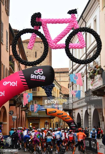 Start / Alba Village / Peloton / Bike Balloons / during the 103rd Giro d'Italia 2020, Stage 20 a 190km stage from Alba to Sestriere 2035m /...