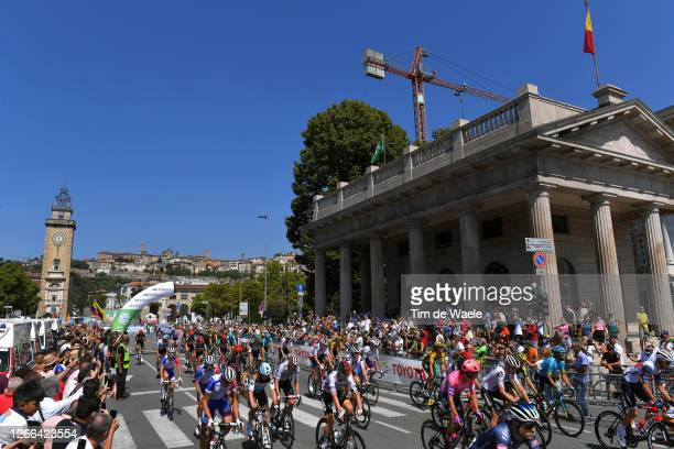 Start / Alberto Bettiol of Italy and Team EF Pro Cycling / Mathias Frank of Switzerland and Team Ag2R La Mondiale / Maximilian Schachmann of Germany...