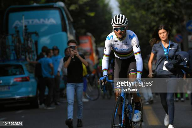 Start / Alejandro Valverde Belmonte of Spain and Movistar Team / during the 98th Tre Valli Varesine 2018 a 197km race from Saronno to Varese on...