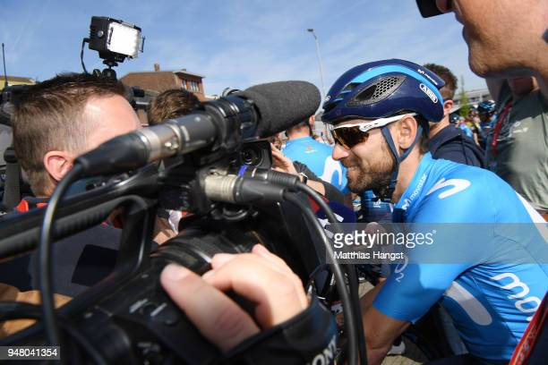 Start / Alejandro Valverde Belmonte of Spain and Movistar Team / during the 82nd La Fleche Wallonne 2018 a 1985km race from Seraing to Mur De Huy on...