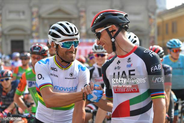 Start / Alejandro Valverde Belmonte of Spain and Movistar Team / Fabio Aru of Italy and UAE Team Emirates / during the 98th Tre Valli Varesine 2018 a...