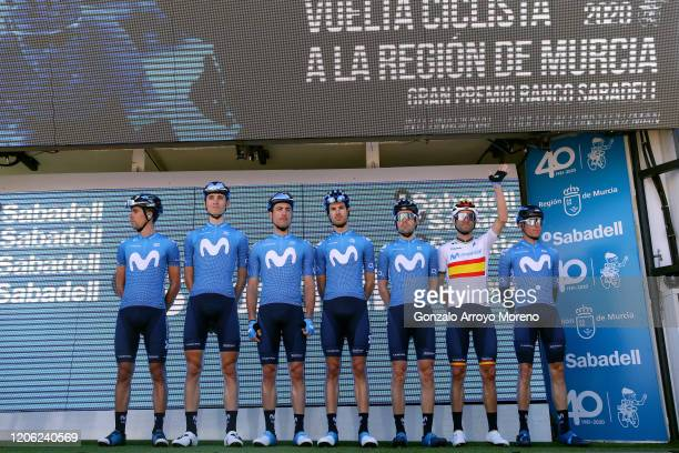 Start / Alejandro Valverde Belmonte of Spain and Movistar Team / Hector Carretero of Spain and Movistar Team / Enric Mas Nicolau of Spain and...