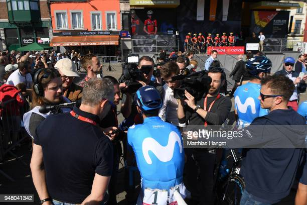 Start / Alejandro Valverde Belmonte of Spain and Movistar Team / Press Media / during the 82nd La Fleche Wallonne 2018 a 1985km race from Seraing to...