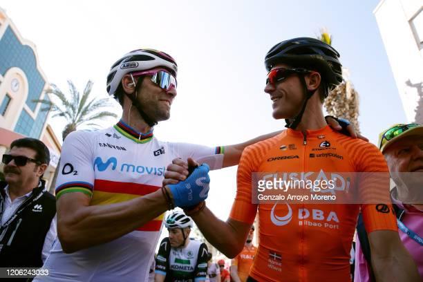 Start / Alejandro Valverde Belmonte of Spain and Movistar Team / Ruben Fernandez Andujar of Spain and Team Fundacion - Orbea / during the 40th Vuelta...