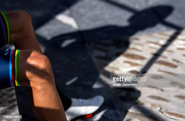 Start / Alejandro Valverde Belmonte of Spain and Movistar Team / Shadow / Detail view / during the 75th Tour of Spain 2020, Stage 10 a 185km stage...