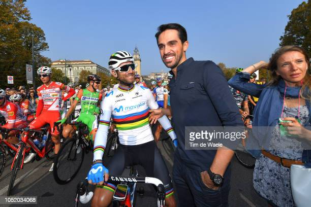 Start / Alejandro Valverde of Spain and Movistar Team / Alberto Contador of Spain Ex Procyclist / Celebration / during the 112th Il Lombardia 2018 a...