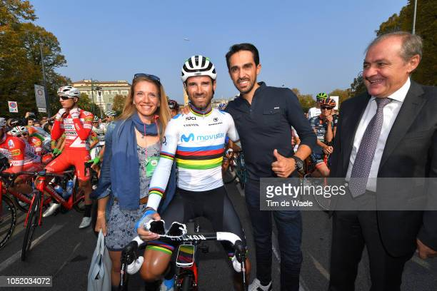 Start / Alejandro Valverde of Spain and Movistar Team / Alberto Contador of Spain Ex Procyclist / Mauro Vegni of Italy RCS Race Director Tour of...
