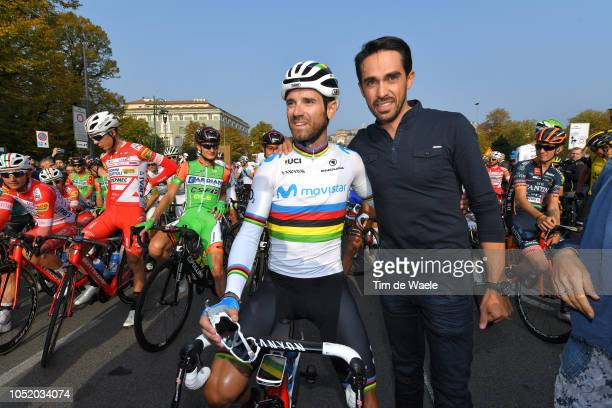 Start / Alejandro Valverde of Spain and Movistar Team / Alberto Contador of Spain Ex Pro-cyclist / Celebration / during the 112th Il Lombardia 2018 a...