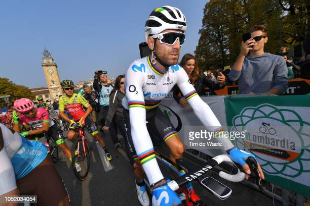 Start / Alejandro Valverde of Spain and Movistar Team / during the 112th Il Lombardia 2018 a 241km race from Bergamo to Como / IL / on October 13,...
