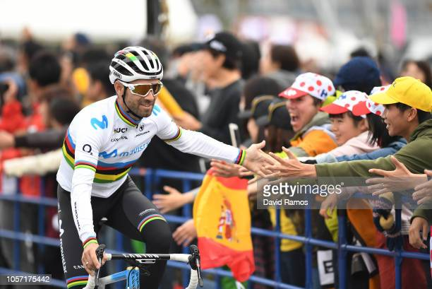 Start / Alejandro Valverde of Spain and Movistar Team / Fans / Public / during the 6th Tour de France Saitama Criterium 2018 a 589km race from...